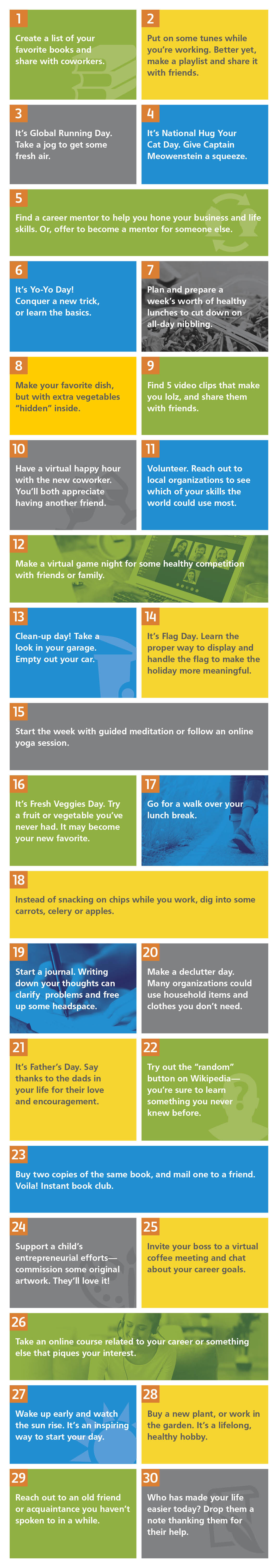 calendar of ideas to celebrate Employee Wellbeing Month