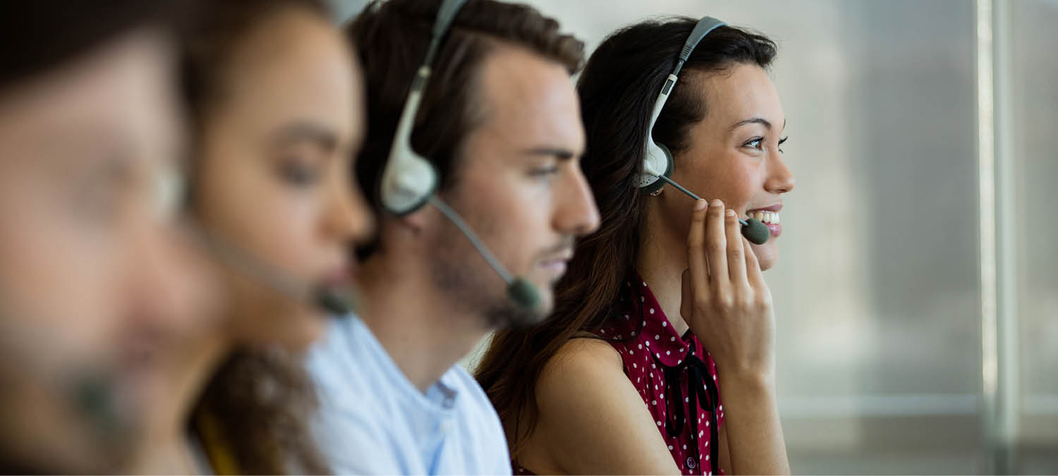 call center reps with headsets