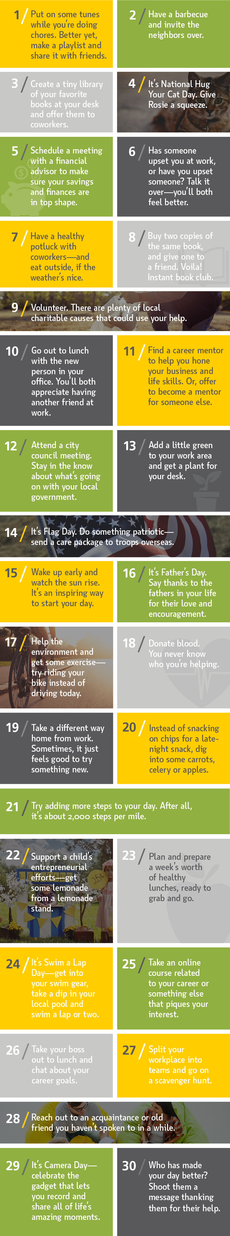 Employee Wellbeing Month June Calendar Infographic