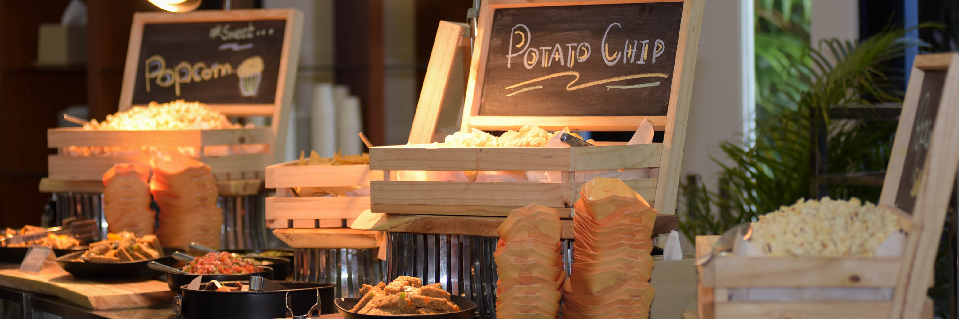 Grab and go food station at an event