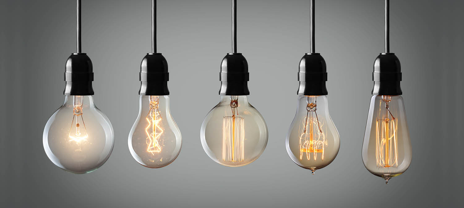 Various hanging lightbulbs