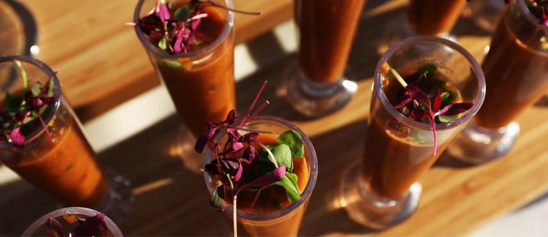 Specialty drinks at a catered event