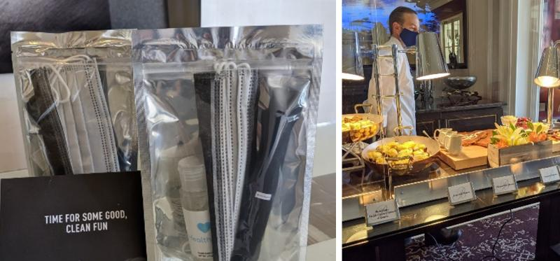 mask and sanitizer pack and buffet guards to mitigate health risk