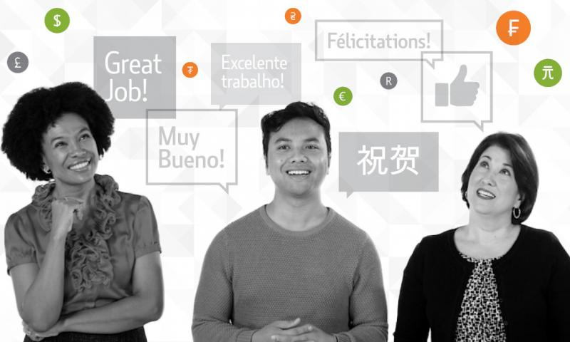 Three people talking with speak bubbles in different languages