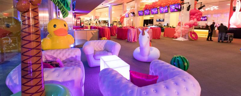 Example of a fun event party setup at a venue