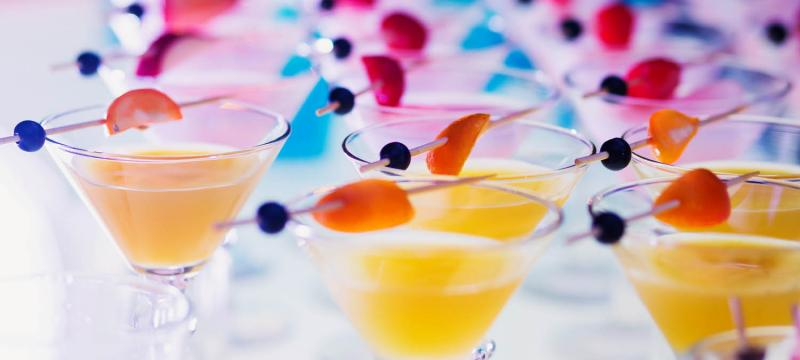 Specialty cocktail drinks at an event