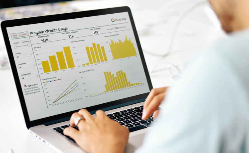 Data visualization dashboard on a laptop computer