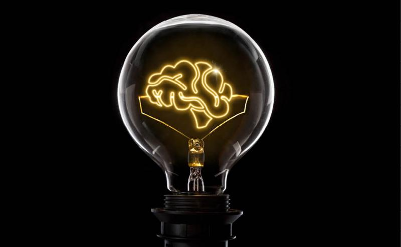 light bulb with illustration of brain