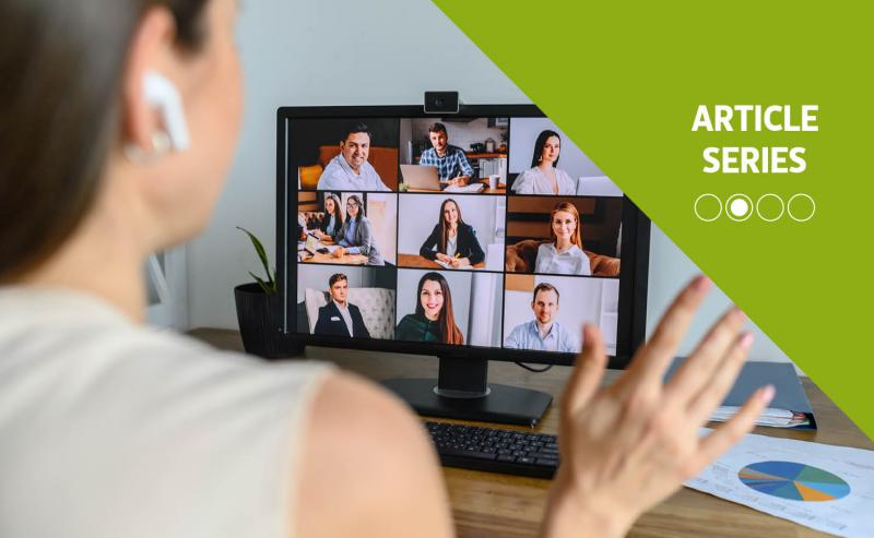 manager communicating corporate culture on video call