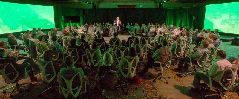 Event keynote speaker using a 360 degree stage