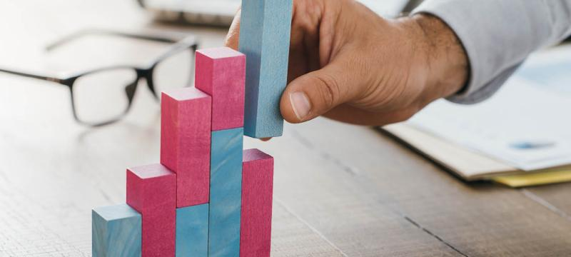 person showing growth using wooden pegs to build a chart