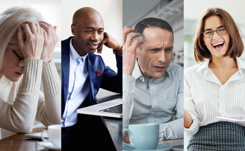 Four different employees with different emotions on their faces at work