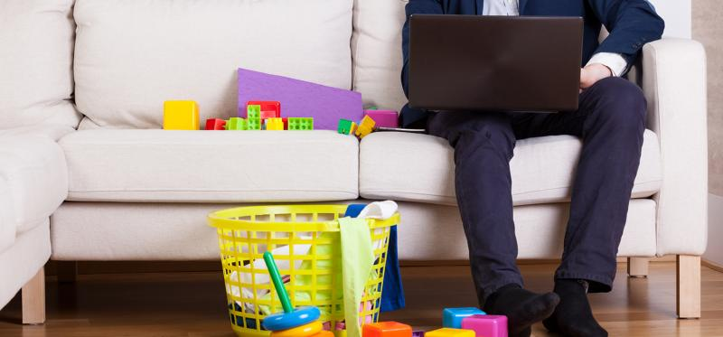 Employee working from home after having a new baby