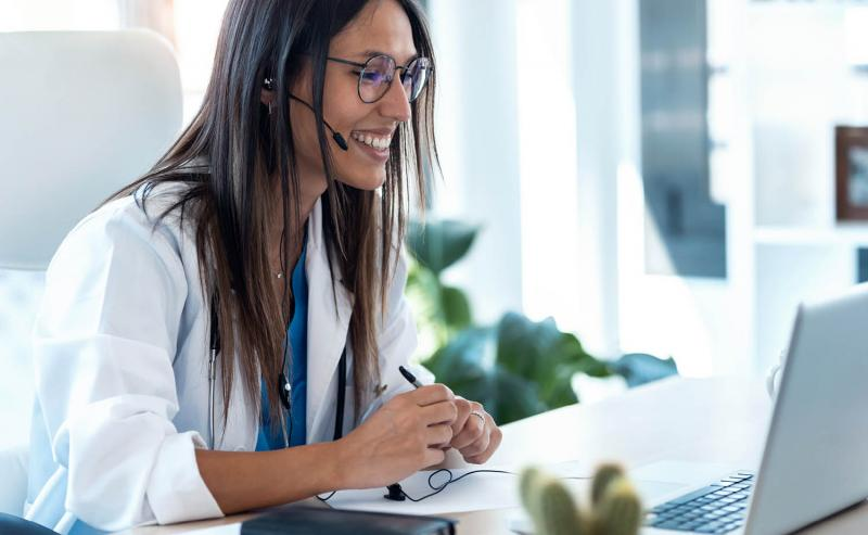 physician working on online training
