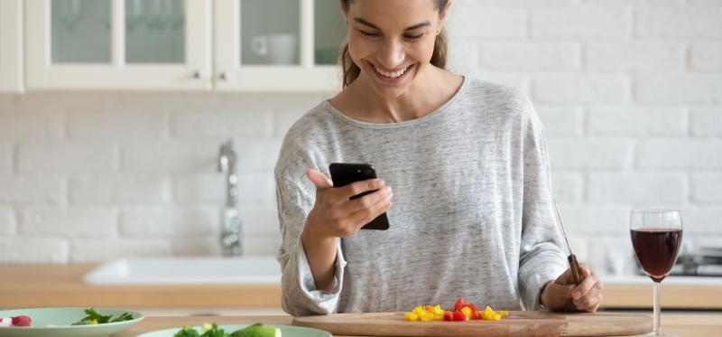 woman participating in virtual dinner party
