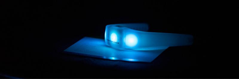Light up LED wristband at an event