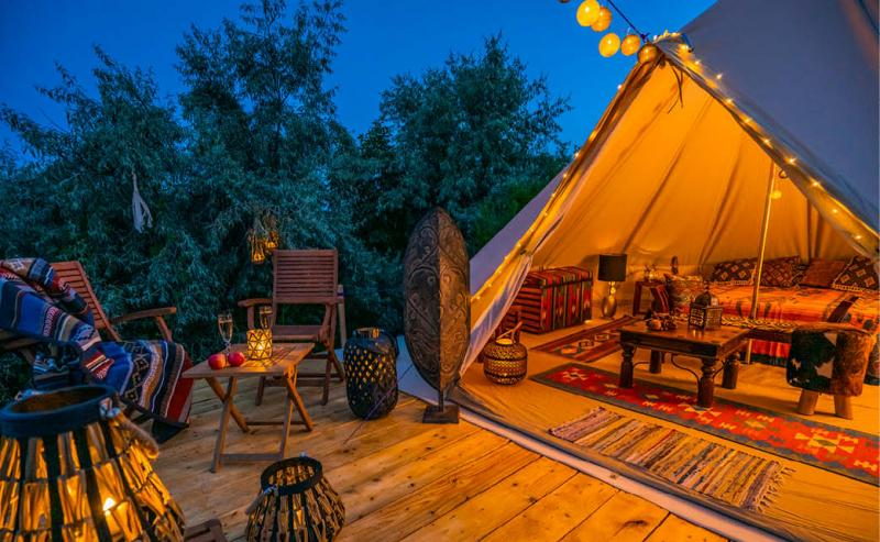 glamping tent at incentive travel event