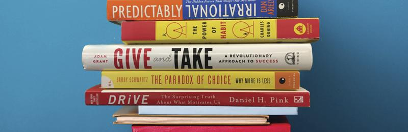 Stack of motivational books.