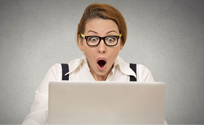 Surprised woman considering her event budget checklist