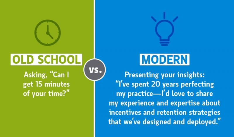 graphic comparing asking for time vs presenting experience