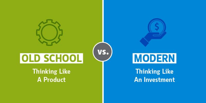 graphic comparing thinking like a product vs thinking like an investment