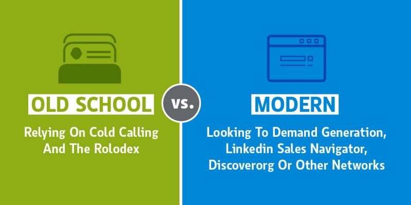 graphic comparing cold calling to internet tools