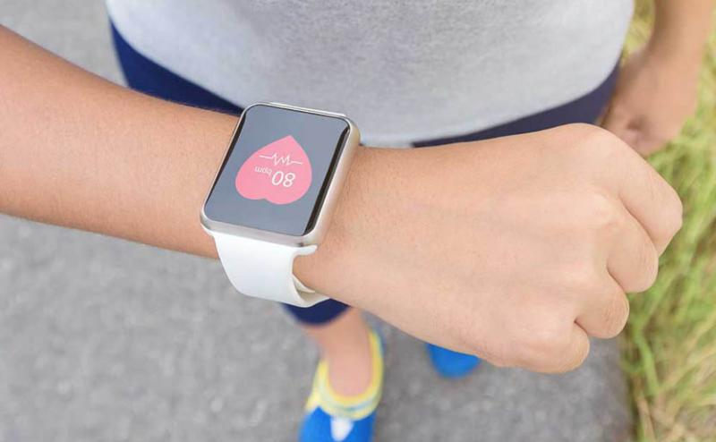 Woman wearing a smart watch