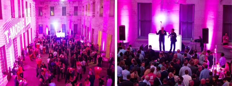 The San Francisco Mint courtyard was lit with magenta uplighting with the T-Mobile logo on the walls