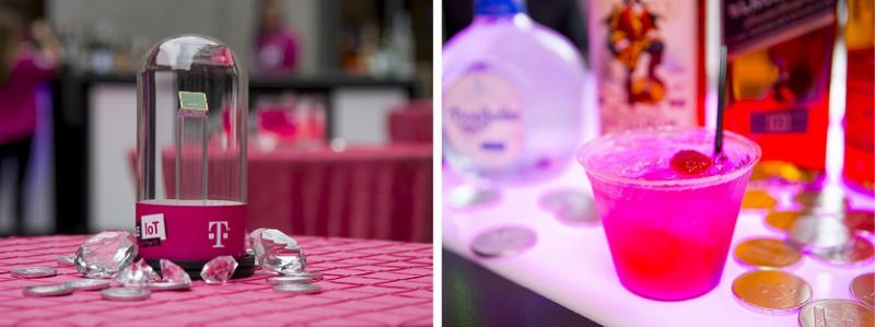 The event centerpieces and IoTini magenta martini drink special