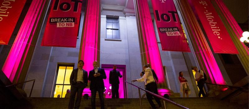 The San Francisco Mint entrance with magenta T-Mobile event branded banners