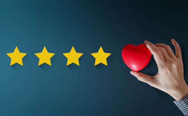 5 stars in a row to represent customer satisfaction