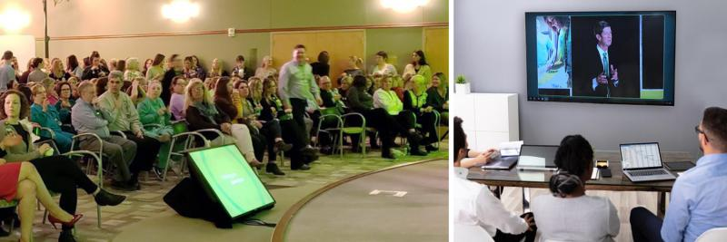 collage of in-person event attendees and virtual event attendees