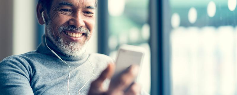 man listening to a podcast for entertainment