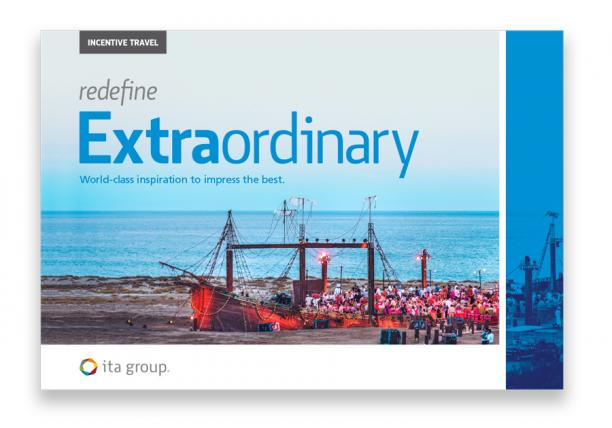 Incentive travel inspiration magazine cover image featuring custom-built ship