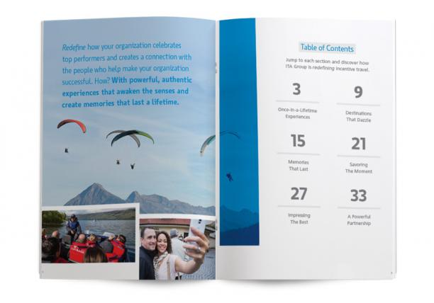 Incentive travel inspiration magazine spread showing amazing incentive travel experiences