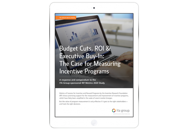 Cover of The Case for Measuring Incentive Programs White Paper on an iPad screen